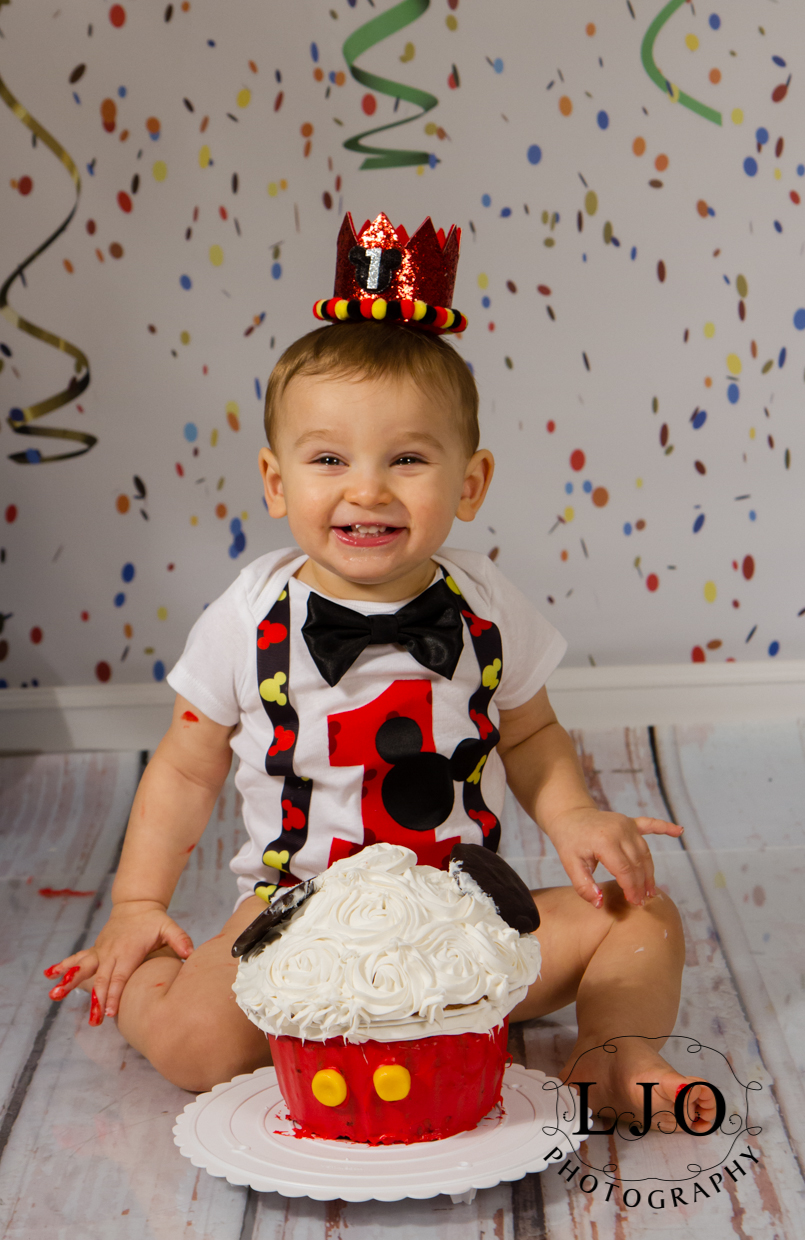 Mickey Mouse Cake Smash 1st Birthday Session Smithtown Hauppauge Commack